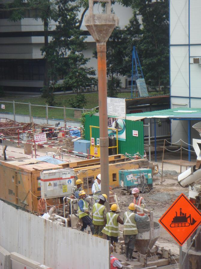 Placing Concrete At Varying Depths To Complete A New Subway Station